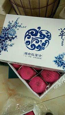 山东省烟台市牟平区红富士苹果 90mm以上 全红 纸袋