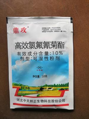 河南省郑州市金水区高效氯氟氰菊酯  可湿性粉剂 袋装 10%中天邦正鼎攻10克菜青虫