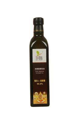 这是一张关于冷榨亚麻籽油的产品图片