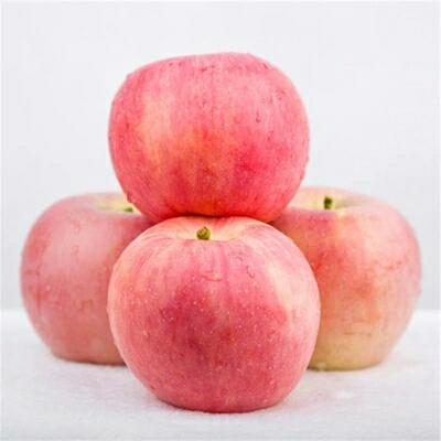 这是一张关于红富士苹果 膜袋 条红 80mm以上 特级的产品图片