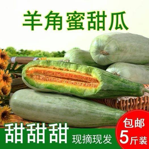 【破损包赔】山东羊角蜜甜瓜新鲜香瓜水果3/5斤装带箱代发